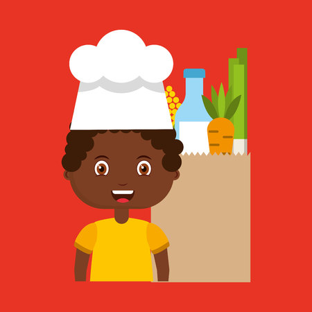 little chef kids menu vector illustration design
