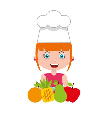 little chef kids menu vector illustration design