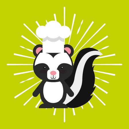 animal chef character kids menu vector illustration design