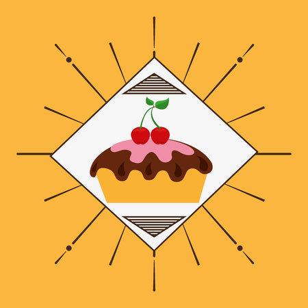 baked: delicious cake baked goods vector illustration design