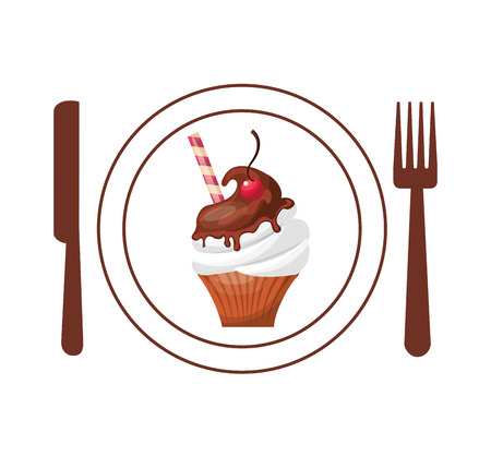 baked: baked goods with cutlery vector illustration design