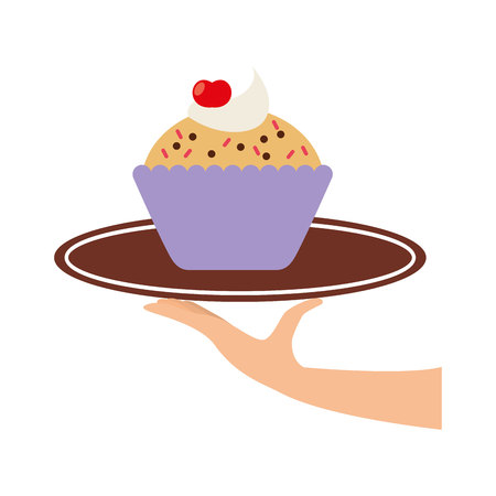 baked: delicious tray - baked goods vector illustration design