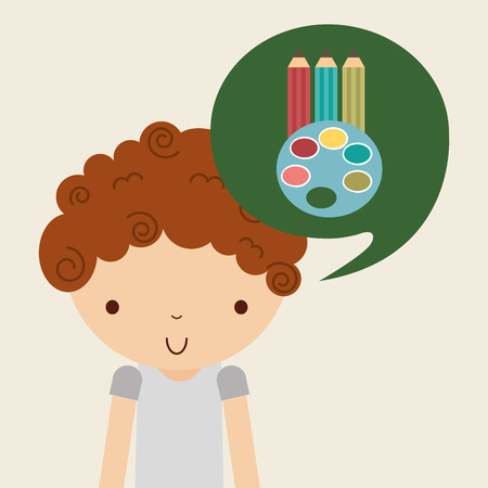 pallete: boy character student with school supplies vector illustration design Illustration