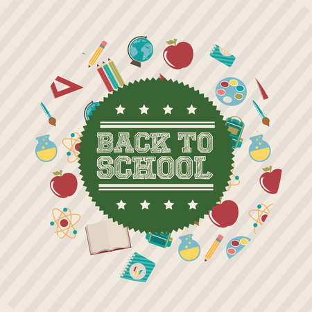 back to school with supplies vector illustration design