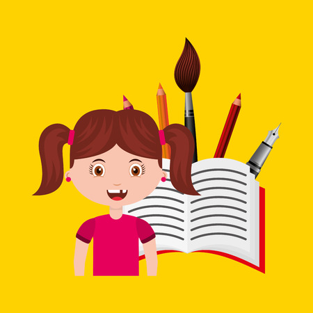 pallete: girl character student with supplies school vector illustration design