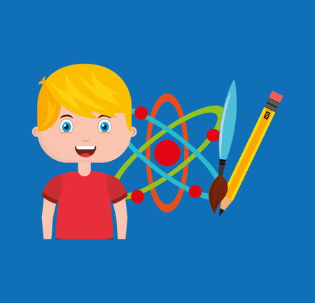 boy character student with school supplies vector illustration design Illustration