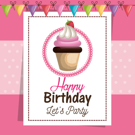 buttercream: birthday card cupcake sweet party vector illustration eps 10