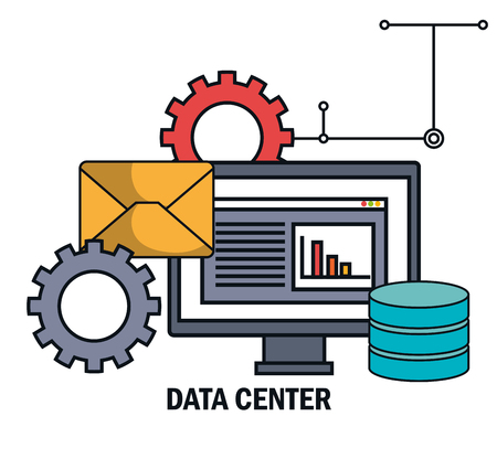 hard disk: data center email work isolated vector illustration Illustration