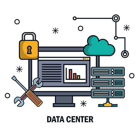 tools data server screen pc isolated vector illustration