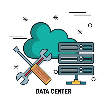 support cloud data center isolated vector illustration Illustration