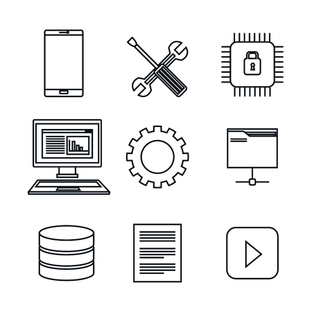 set icons database center server isolated vector illustration