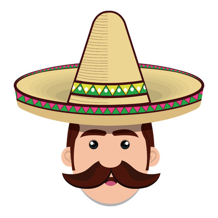 face man mexican hat and mustache graphic vector illustration