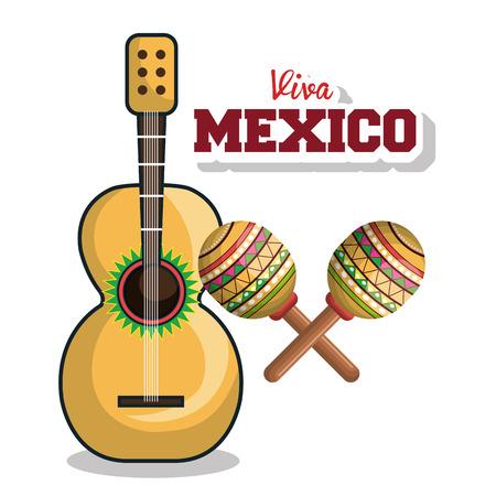 guitar and maraca viva mexico graphic vector illustration