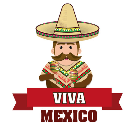 man mexican with hat and cloths traditional graphic vector illustration
