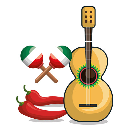guitar, maracas and chili mexican symbol graphic vector illustration