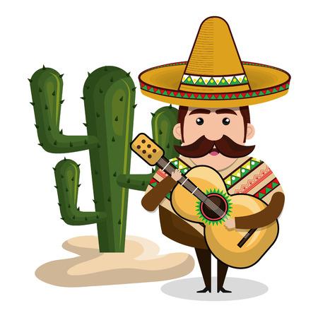 sombrero de charro: Hombre mexicano con la guitarra y la ilustración vectorial gráfico de cactus