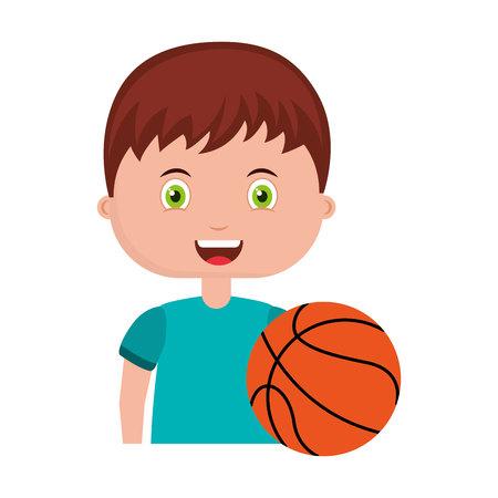 balon de basketball: estudiante personaje bebé de material escolar, la ilustración vectorial de diseño