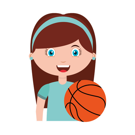 balon de basketball: estudiante carácter de la muchacha con la escuela suministros ilustración vectorial de diseño