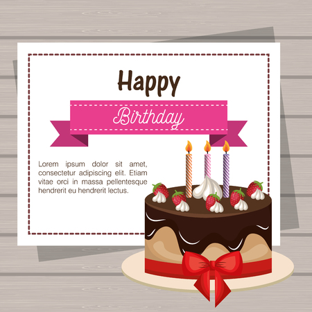 restyled: card birthday cake chocolate ribbon graphic vector illustration eps 10