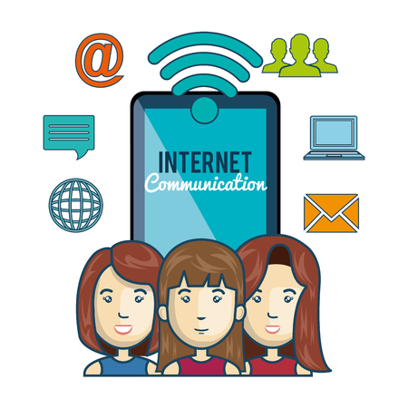 communication cartoon: cartoon characters smartphone internet communication graphic vector illustration eps 10