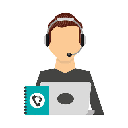face with headset: call center operator avatar vector illustration design