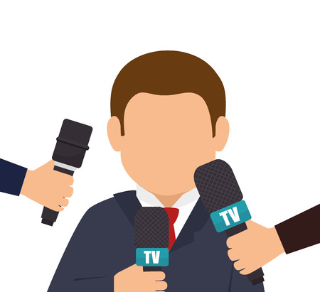 anchorman: character interview news microphone graphic vector illustration eps 10