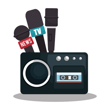publicist: tape recorder cassette news microphone graphic vector illustration eps 10
