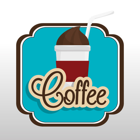 plastic straw: coffee cup plastic with straw graphic vector illustration eps 10