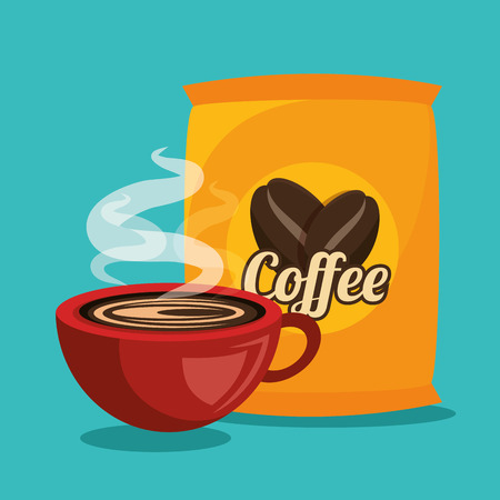 coffee sack: cup and bag coffee graphic vector illustration eps 10