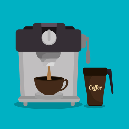 coffee maker machine: coffee maker machine and cup graphic vector illustration eps 10 Illustration