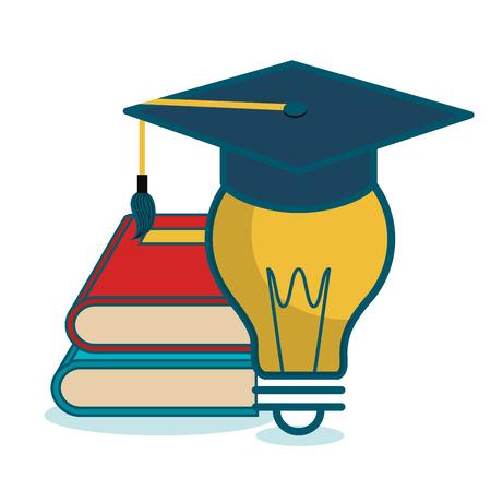 cartoon books and bulb school graphic vector illustration eps 10