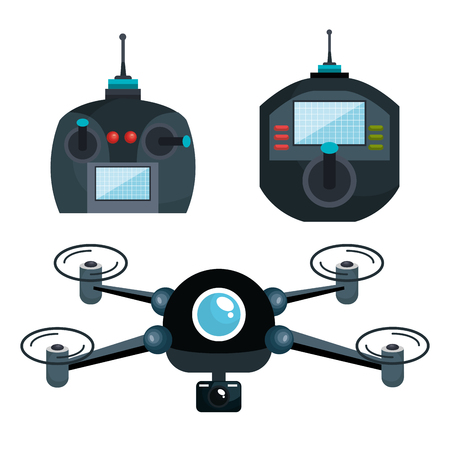paranoia: cartoon drone and controls graphic isolated vector illustration eps 10