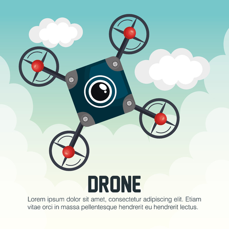 drone icon blue with cloud graphic vector illustration eps 10