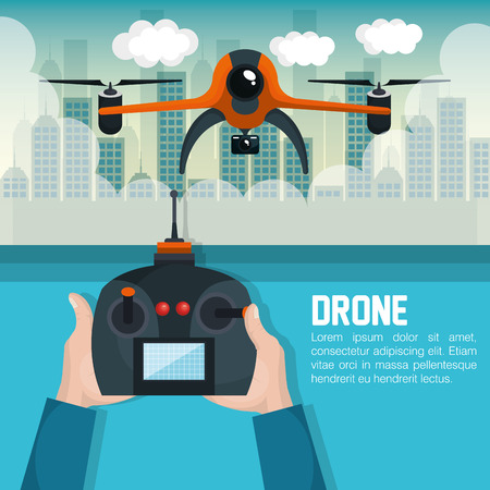 robot with shield: drone with hand hold remote control graphic vector illustration eps 10 Illustration