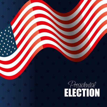spangled: flag waving usa presidential election graphic vector illustration eps 10