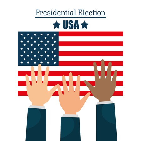 nomination: hands raised up election presidential graphic vector illustration eps 10
