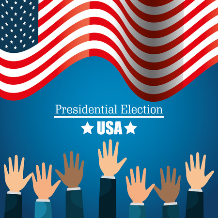 presidential: hands raised up election presidential graphic vector illustration eps 10