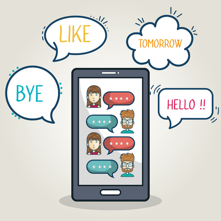 chat group: mobile chat group character smartphone graphic vector illustration eps 10
