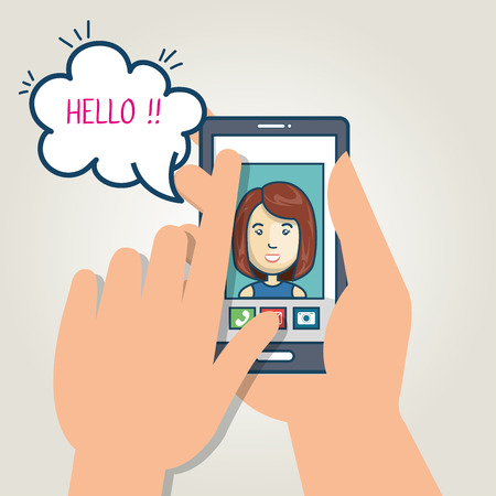 smartphone hand: cartoon smartphone hand holding mobile chat graphic vector illustration eps 10