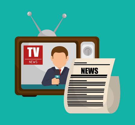 TV retro anchorman nieuws grafische vectorillustratie