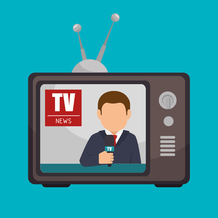 anchorman: tv news anchorman broadcast graphic vector illustration