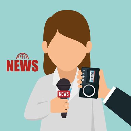 newsreader: character interview news graphic vector illustration
