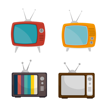 tv retro: set tv retro vintage graphic vector illustration Illustration