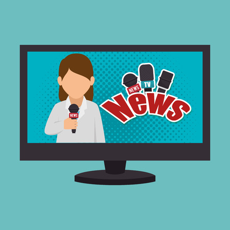 Cartoon Tv News Reporter Woman Graphic Vector Illustration Stock