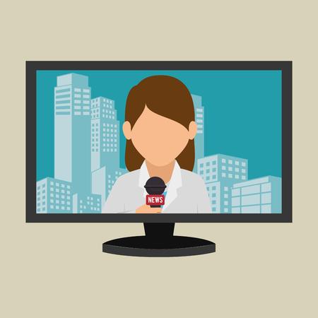 plasma tv: tv plasma news woman graphic vector illustration