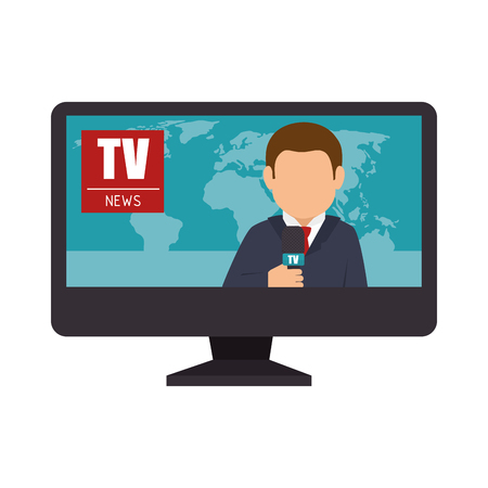 lcd: reporter tv lcd news graphic vector illustration Illustration