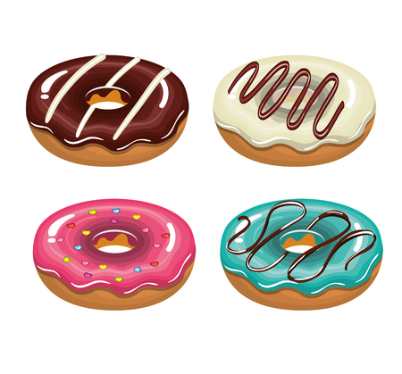 tasty: set donuts tasty white background isolated graphic vector illustration