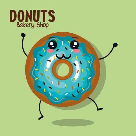icing: icon donut blue icing cream graphic vector illustration