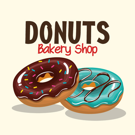 tasty: two donuts tasty sweet graphic vector illustration