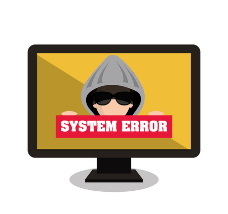 display problem: monitor system error alert isolated vector illustration